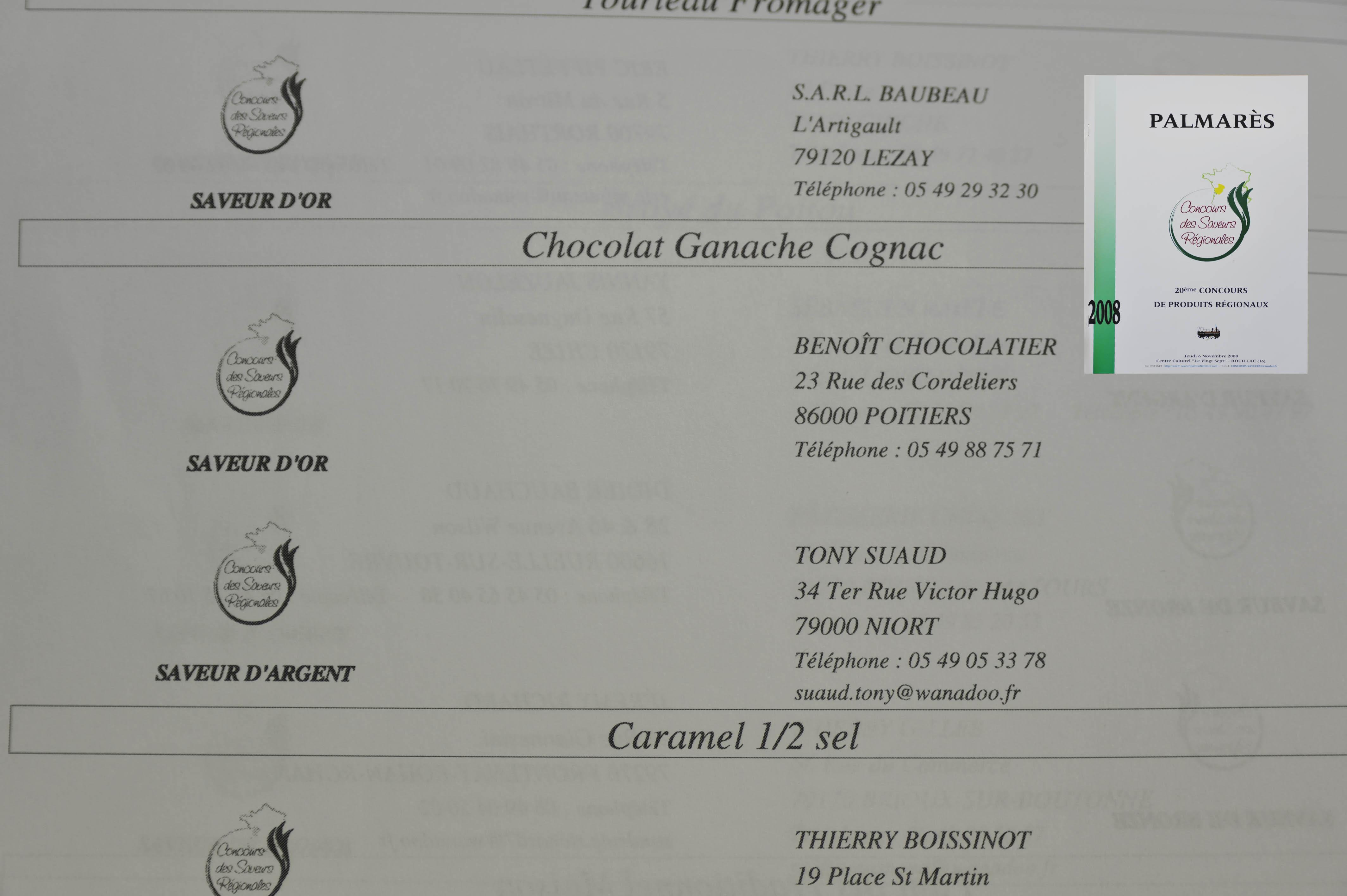 benoit chocolatier  concours  distinctions
